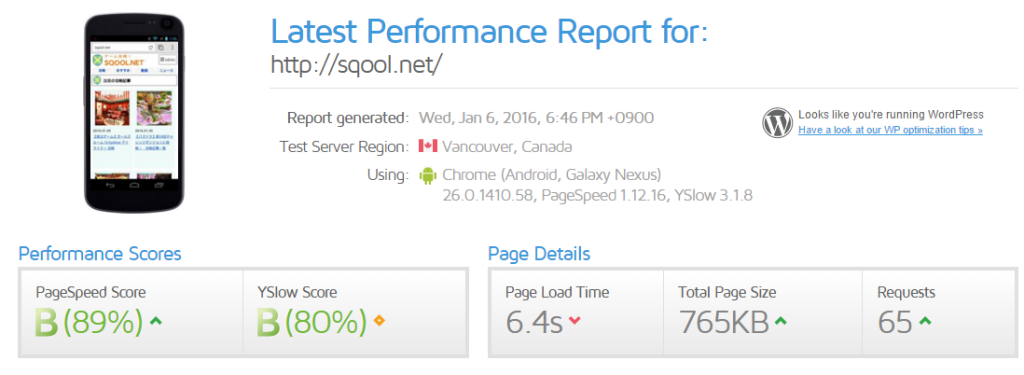 Latest Performance Report for http sqool.net GTmetrix